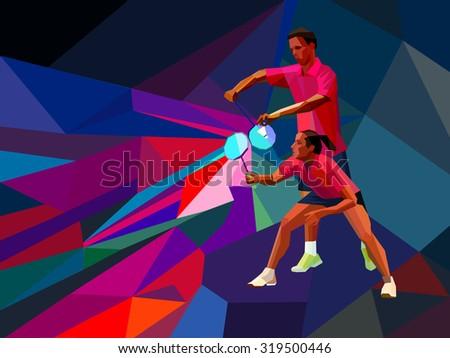 Badminton Mixed Doubles Team Man Woman Stock Vector ...
