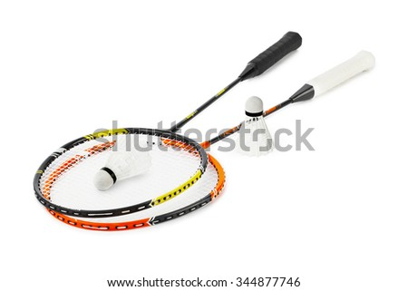 Badminton racket and shuttlecock isolated on white background