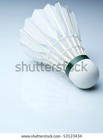 Badminton shuttlecock on white - stock photo