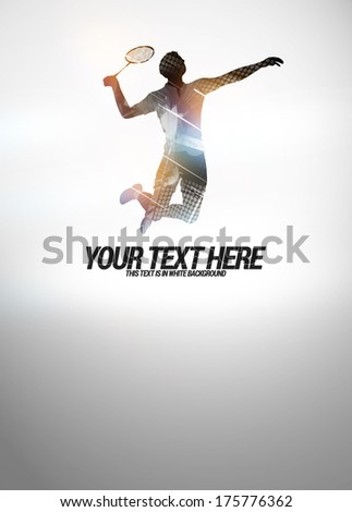 Badminton sport invitation poster or flyer background with empty space - stock photo