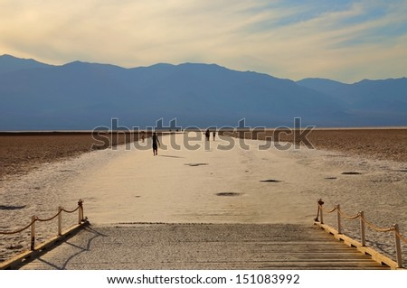Badwater in Death Valley National Park in late afternoon - stock photo