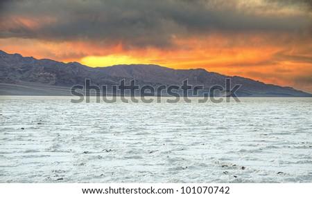 Badwater Salt lake at Death Valley - sunset shot - stock photo