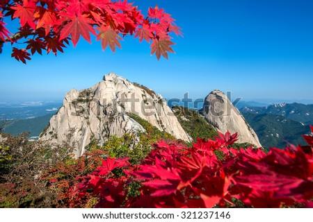 Baegundae peak and Bukhansan mountains in autumn,Seoul in South Korea. - stock photo