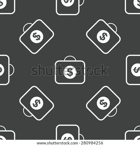 Bag and dollar symbol on it, repeated on grey background - stock photo