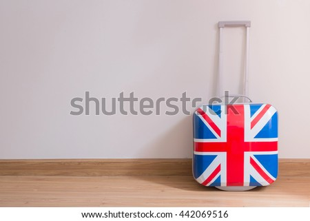 Bag british flag in room .Flags of the United Kingdom . - stock photo