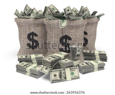 Bag. 3D. Dollar bag with dollars heap - stock photo