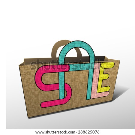 Bag for shopping sale discount. Raster version - stock photo
