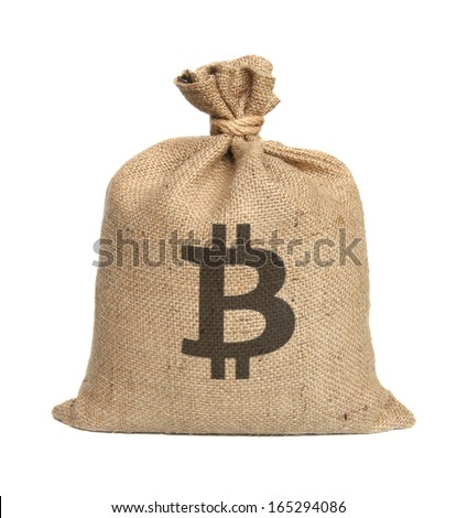 Bag from bitcoin isolated on a white background. - stock photo