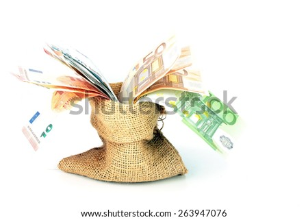 Bag full of euro money notes - stock photo