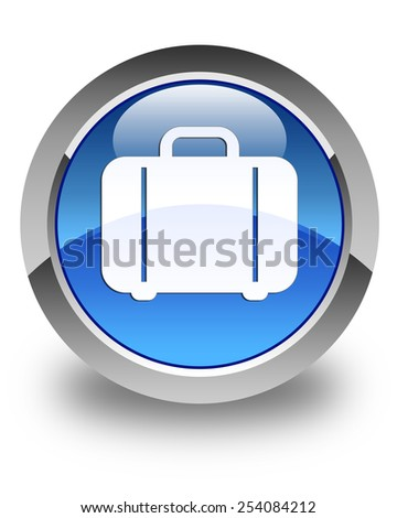 Bag icon glossy blue round button - stock photo