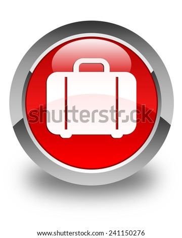 Bag icon glossy red round button - stock photo