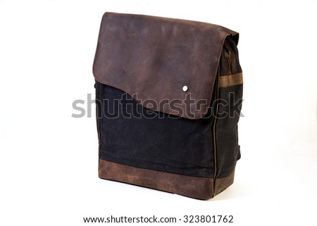 bag made of mixed material leather and canvas exclusively for youth isolated on white background varialable with clipping mask