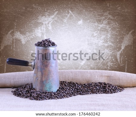 Bag of coffee beans on the table.