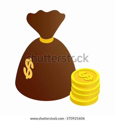 Bag of coins isometric 3d icon - stock photo