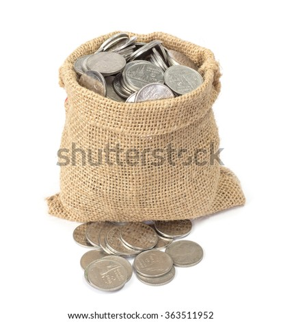Bag of coins on white background