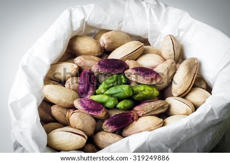 bag of delicious Sicilian pistachios.closeup - stock photo
