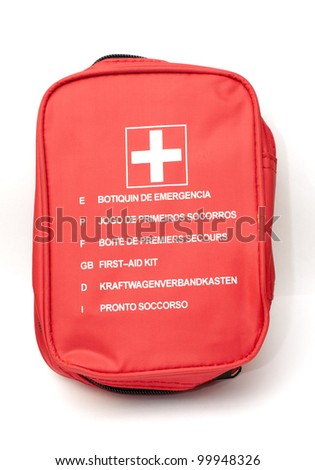 bag of first aid kit, emergency - stock photo