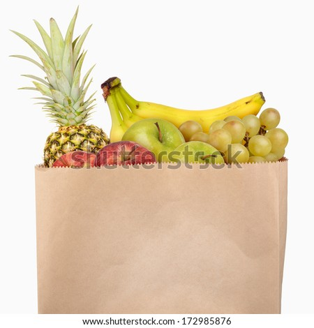 Bag of fruits isolated on white background