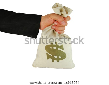 Bag of money in hand on the white background - stock photo