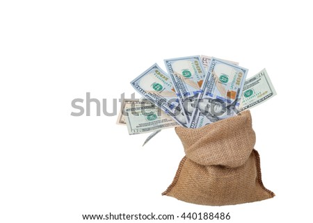Bag of money with different Dollars bills isolated in studio shot on white background and have clipping path, - stock photo