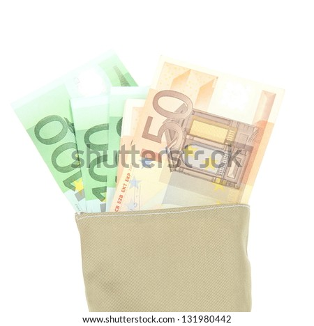 Bag of money with different euro banknotes isolated on white - stock photo