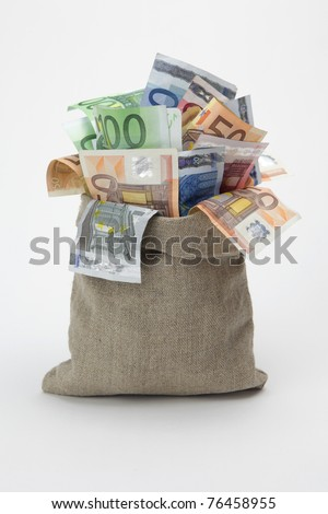 Bag of money with different euro bills - stock photo