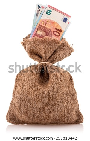Bag of money with euro currency. Isolated on white  - stock photo