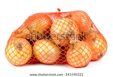 bag of onions isolated on white