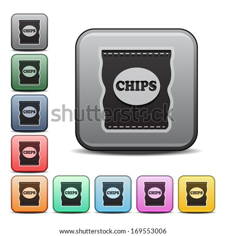 Bag of Potato Chips Icon Square Icon Set with Color Variations.  Raster version. - stock photo