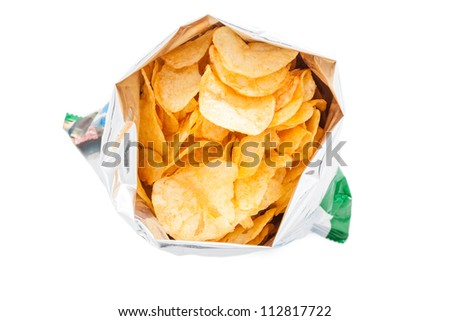 Bag of Potato Chips isolated on white - stock photo
