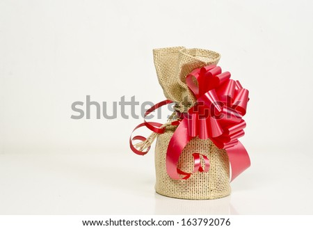 bag of Santa Claus with gifts - stock photo