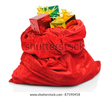 Bag of Santa Claus with gifts on white background - stock photo