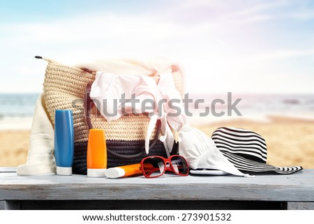 bag on table of blue color  - stock photo