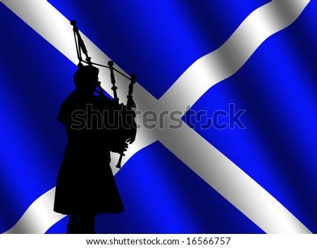 bag piper in kilt with rippled Scottish flag Illustration - stock photo