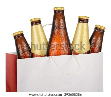 Bag with brown beer bottles isolated on white background