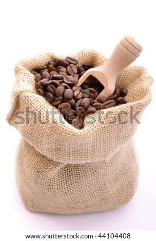 Bag with coffee beans - stock photo
