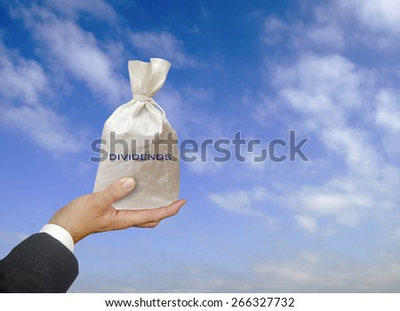 Bag with dividends - stock photo