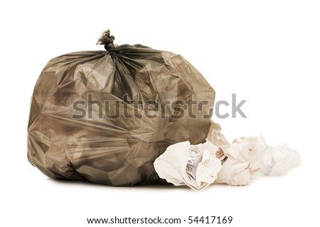 Bag with garbage isolated on the white background - stock photo