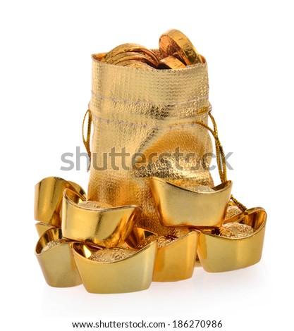 Bag with gold ingot on white background. - stock photo