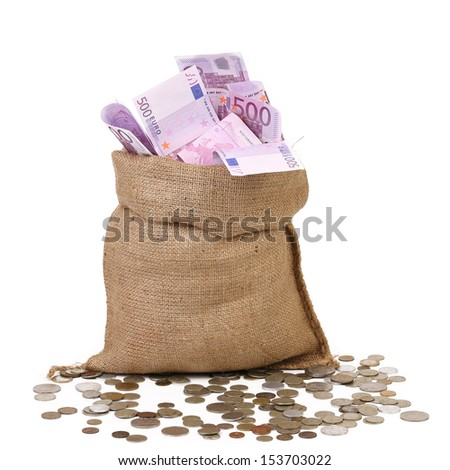 Bag with many Euro banknotes - stock photo