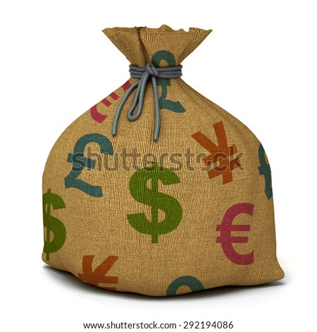 Bag with money. 3d render - stock photo