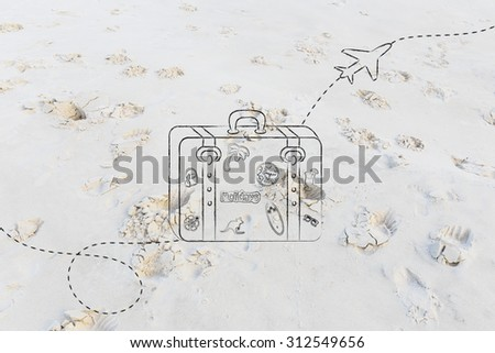 bag with stickers and airplane flying in the background - stock photo