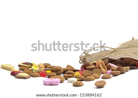 Bag with sweets for the holiday of Sinterklaas in Holland and Belgium - stock photo