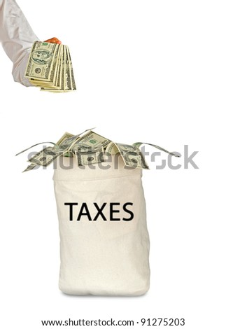 Bag with taxes - stock photo