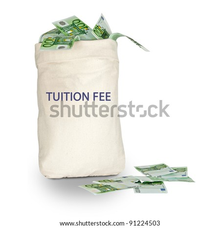 Bag with tuition fee - stock photo