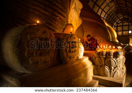 BAGAN MANDALAY MYANMAR NOVEMBER 2014 : Monk in meditation inside temple in Bagan Mandalay Myanmar 10 November 2014