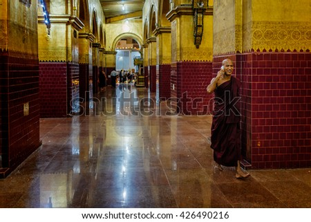 BAGAN-MARCH 24 :monk posing in a temple on March 24, 2015 in Bagan, Myanmar