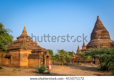 Bagan, Myanmar - March 15th 2016 - The amazing temples of Bagan in the sunrise in Myanmar, Asia.