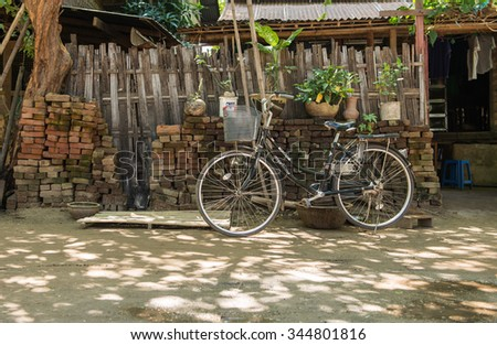 BAGAN MYANMAR- OCTOBER 2015 Bike parked in front of house on october 23 ,2015 in Bagan myanmar