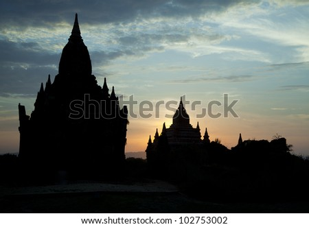 Bagan pagodas while sunset - stock photo